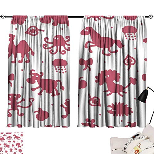 Hariiuet Sheer Curtains Seamless Pattern with Different Cartoon Animal Silhouettes Kids Wallpaper Colorful Background for children1 72