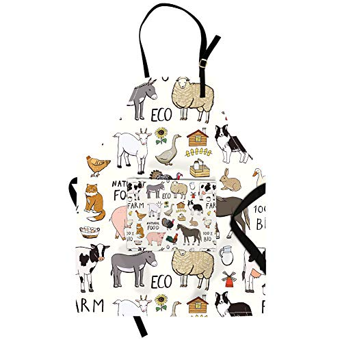 (Qchengsan Animal Apron,Cute Cat Sheep Dairy Cow Horse Chicken Goose Animal Unisex Kitchen Bib Apron with Pocket and Adjustable Neck for Cooking Baking Gardening (19