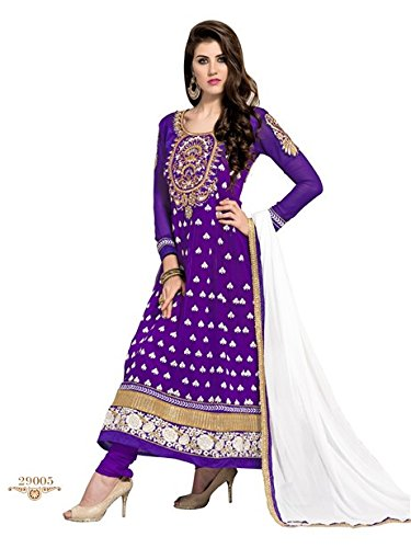 Vibes Women's Gorgette Salwar Suit Dress Material – Free Size, Purple
