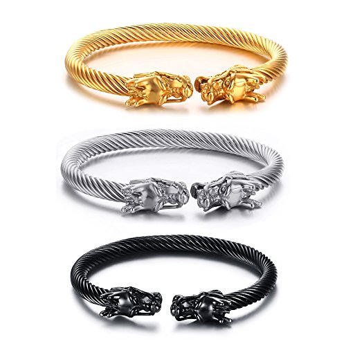 Vnox 3Pcs a Set Stainless Steel Cable Wire Double Dragon Head Open Cuff Bracelet for - Dragon Bracelet Head