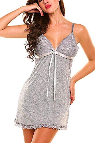 Cotton Lingerie (Memory baby Women's Spaghetti Strap Cotton Nightgown V Neck Lace Babydoll Mini Sleepwear(Grey, Medium))