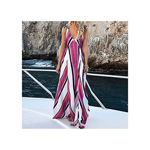 Dress Long Clothing red S Summer 5xl V K Women Casual 4xl Loose Robe Bohemian Rap gybY76f