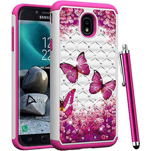 Pink Butterfly Phone - CAIYUNL Studded Rhinestone Crystal Bling Luxury Case Dual Layer Hybrid Protective Armor Cover for Samsung Galaxy J7 Refine/ J7 2018 / J7 Top/J7 Crown/ J7 Aero/J7 Aura/J7 Eon/J7 Star-Hot Pink Butterfly