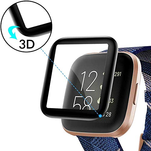 2-Pack Waterproof 3D Full Coverage Curved Edge Screen Protective Accessories for Versa 2 Smartwatch KIMILAR Screen Protector Compatible with Fitbit Versa 2 , Not for Versa