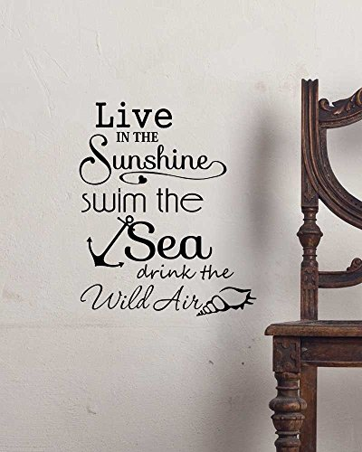 Crystal Emotion Live in the sunshine swim the sea drink the wild air. cute ocean Ralph Waldo Emerson inspired Vinyl Wall Decor Quotes Sayings ()