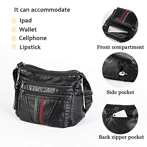 Crossbody Bags For Women Pocketbooks Soft PU Leather Purses and Handbags Multi Pocket Shoulder Bag (BLACK-5)