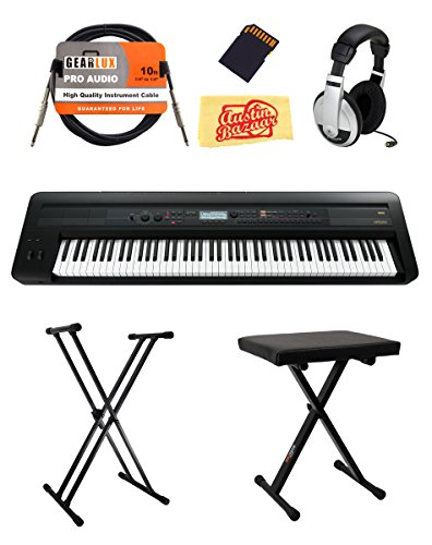 Korg KROSS 88 Music Workstation Keyboard/Synthesizer Bundle with Bench, Stand, Headphones, Batteries, and Austin Bazaar Polishing Cloth by Korg