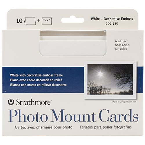 Strathmore Blank Announcements (Strathmore Photo Mount Cards and Envelopes White Embossed Package Of 10)