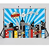 WOLADA 7x5ft Super Hero backdrops for Photography Vinyl City Video Photography Background Props for Studio Cartoon Baby Backdrops 11047
