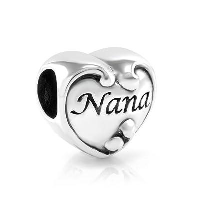 bd08211ae 925 Sterling Silver I Love You Nana Heart Bead Charm Fits Pandora Bracelet:  Amazon.co.uk: Jewellery