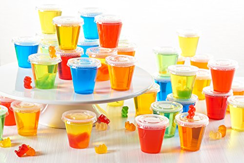 Toasted Drinkware Squeezable Plastic Clear 2 oz Jello Shot Glasses with Lids (100 Sets) Shaped Like Actual Shot Glasses and Not Portion Cups! (Jello Shot Glasses)