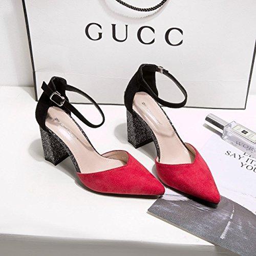 punta luce 36 alta Grossolana rosso con Calzature singoli tacco donne Donna la della Calzature di scarpe wqEIZCI