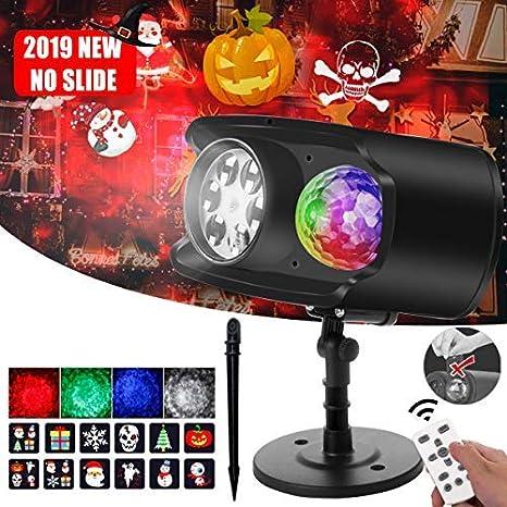 Proyector Luces Navidad LED Bawoo No Papel Proyector Exterior Impermeable IP65 13 Ondas 12 Patrón Luz Control Remoto Lámpara Navidad Luces Proyección ...