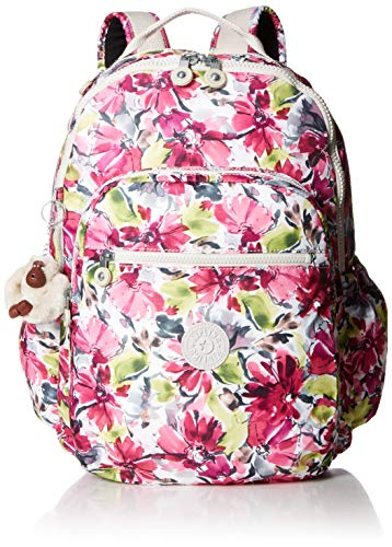 Zip Backpack - Kipling Seoul Go Laptop, Padded, Adjustable Backpack Straps, Zip Closure, Blushing Posies