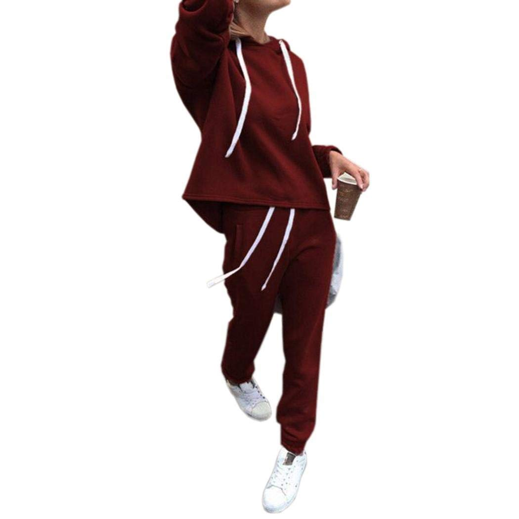 Oguine Women Casual 2 Pieces Outfits Long Sleeve Hooded Tops and Pants Sports Jumpsuit Tracksuits Pantsuits