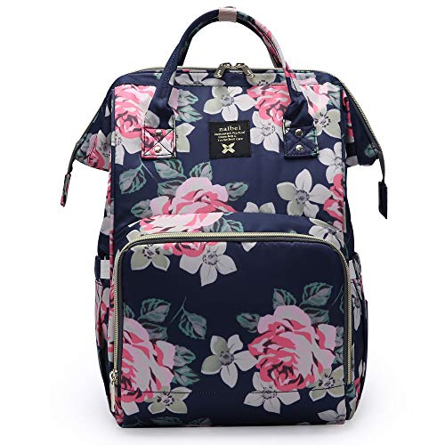 Floral Diaper Bag for Girl Mom Baby Nappy Maternity Bag Changing Organizer, Blue