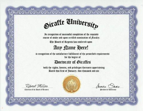 Giraffe Degree: Custom Gag Diploma Doctorate Certificate (Funny Customized Joke Gift - Novelty Item) -