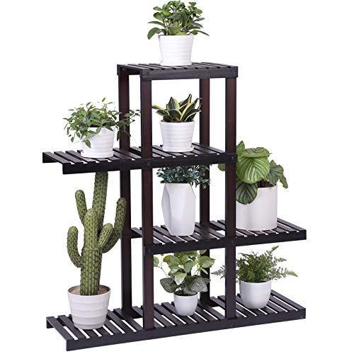 (SONGMICS Bamboo Wood Plant Stand Shelf Flower Pots Holder Display Rack Utility Shelving Unit Storage Rack for Living Room Balcony Hallway Bathroom Brown)