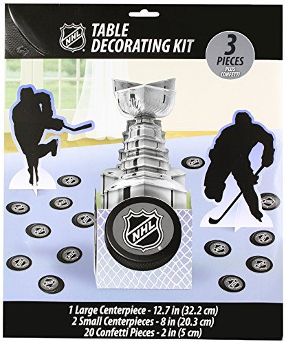Amscan Sports & Tailgating NHL Trophy & Pugs Table Decorating Kit, Multi Color, 13.8 x 11.8