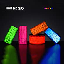 Higo LED Armband, Rainproof Glowing LED Slap Bracelets, Light Up Sports Wristbands with Reflective Printing, for Running, Cycling, Hiking, Jogging, Dog Walking