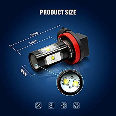 SIRIUSLED Extremely Bright 30W LED Bulbs with Projector for Fog Lights Daytime Running DRL Driving H11 6000K Xenon White: Automotive