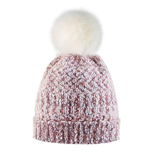 ef01e53a3b4 Calixto Bellísimo Women Knitted Hat Pom Pom Beanie Hats Winter Ski Cap Warm  Girl with Fur Pompoms Chunky Soft Cable Knit at Amazon Women s Clothing  store
