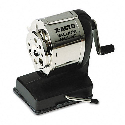 X-ACTO : Boston Model KS Vacuum Table/Wall-Mount Manual Pencil Sharpener, Black/Chrome -:- Sold as 2 Packs of - 1 - / - Total of 2 Each