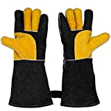 Leather Welding Gloves Heat Resistant & Wear Resistant Fireproof Stitching For Tig/Mig Welders/Fireplace/BBQ/Gardening/Grilling/Stove/Animal handling(16-inch, Black)