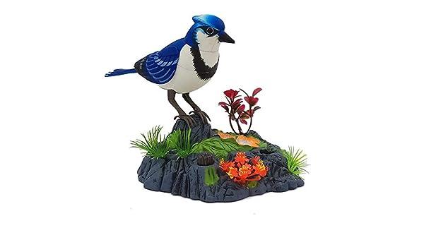 Wall Mount Motion Sensor Dancing Chirping Singing Bird Blue Jay Home Decor Gift