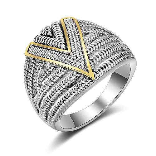 Mytys Fashion Vintage 18mm Wide Band Ring for Women Men Hollow V Ring 2 Tone Plated Size 7