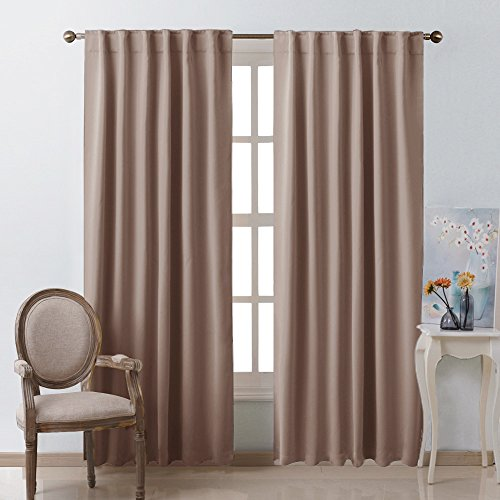 Bedroom Blackout Draperies And Window Treatment  (Taupe / Khaki Color) 52  Width X 84 Length, 2 Panels Set, Solid Blackout Curtain Panels By NICETOWN