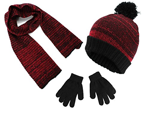 Hat Kids Red Gloves (Polar Wear Boys Knit Hat, Scarf And Gloves Set - Red/Black)
