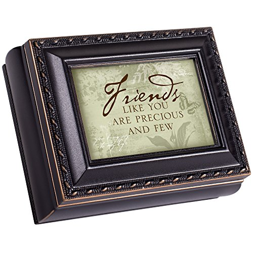 Cottage Garden Friends Like You are Precious and Few Black with Gold Trim Finish Small Keepsake Jewelry Box