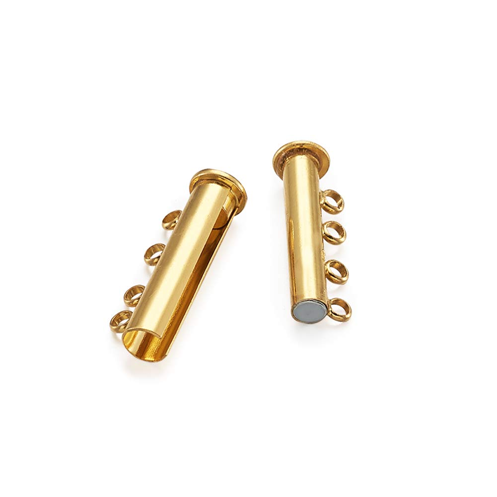 Pandahall 15pcs 5Sizes Multi Strand Slider Magnetic Lock Clasps Brass Tube Connectors Layering Clasp for Jewelry Necklace Bracelet Making Golden Color 2//3//4//5//6-Strand