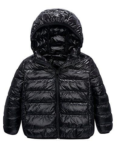 Spring&Gege Boys Quilted Packable Hoodie Lightweight Puffer Jacket Windproof Outwear Children Warm Duck Down Coat
