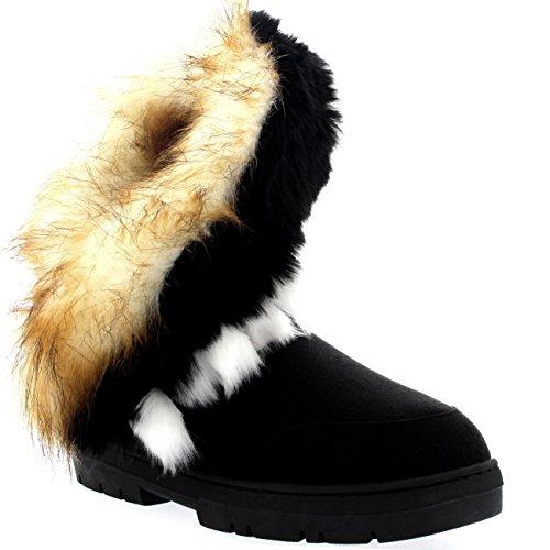 Womens Short Tassel Winter Cold Weather Snow Rain Boots Black vh2xol2FQ
