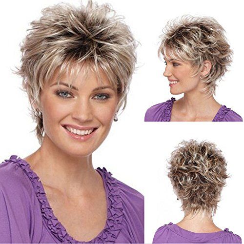 Royalfirst Women Lady New Short Curly Wavy Hair Wig Heat Resistant