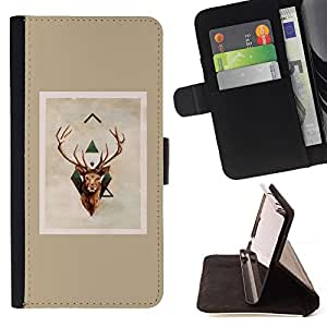 - Queen Pattern FOR Sony Xperia Z3 D6603 /La identificaci????n del cr????dito ranuras para tarjetas tir????n de la caja Cartera de cuero cubie - deer antlers Christmas brown beige