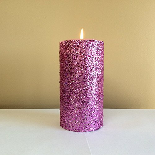 Pink Glitter Pillar Candle Unscented - Choose 4, 6, 9 Inches (Sparkle Pillar Candles)