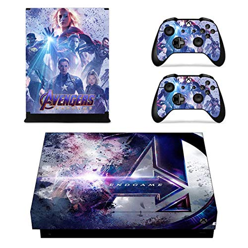 Oidoioi Protective Vinyl Skin Decal Cover for Xbox One X Console Wrap Sticker Skins with Two Free Wireless Controller Decals superhero