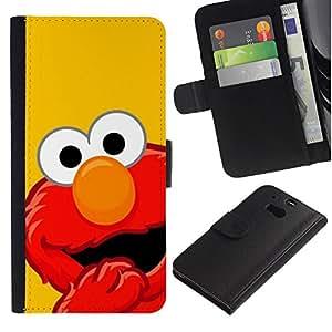 KLONGSHOP // Tirón de la caja Cartera de cuero con ranuras para tarjetas - MOP ROJO DIVERTIDO - HTC One M8 //
