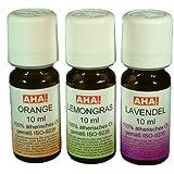 3er-Set - 100% natürliche ätherische Öle für Vesuvio - a`10 ml - bestehen aus: 1 Flasche Orange/Sizilien, 1 Flasche Lemongras/Indien, 1 Flasche Lavendel/Provence (ISO-9235 zertifiziert)