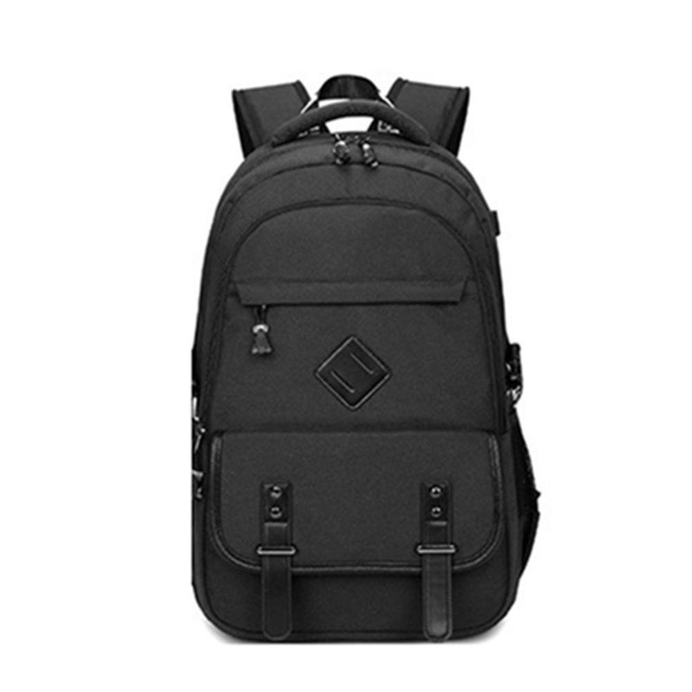 Black Male School Backpack for Boys Laptop Computer Bags Casual Rucksack Travel Daypack with USB Interface