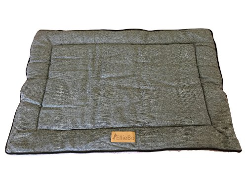 Ellie-Bo Reversible Tweed and Faux Fur Mat Bed for Dog Puppy Cages and Crates Large 36-inch Grey