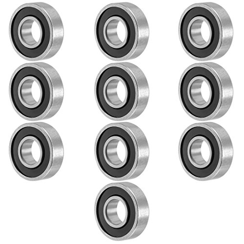uxcell 10pcs 698RS 8mmx19mmx6mm Double Sealed Miniature Deep Groove Ball - Bearings 6mm Sealed Ball