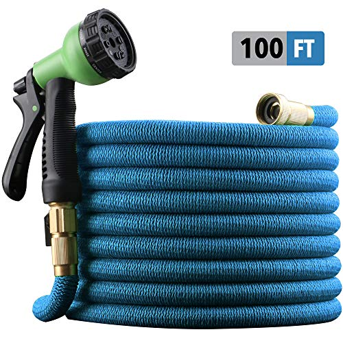 """EnerPlex 100 ft Non-Kink Expandable Garden Hose, Upgraded 10-Pattern Spray Nozzle Included, 3/4"""" Brass Fittings with Shutoff Valve, Best 100′ Foot Garden Hose – 2 Year Warranty – 2019 Model – Blue"""