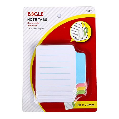 Eagle Sticky Note Tabs,2.68×2.83-Inches, Green, Yellow, Pink, Blue, Lined Paper, 25-Sheets/Pad, 4-Pads/Pack