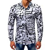 vermers Clearance Sale Mens Button Down Shirts - Men Fashion Printed Blouse Casual Long Sleeve Slim Shirts Tops(M, Multicolor3)