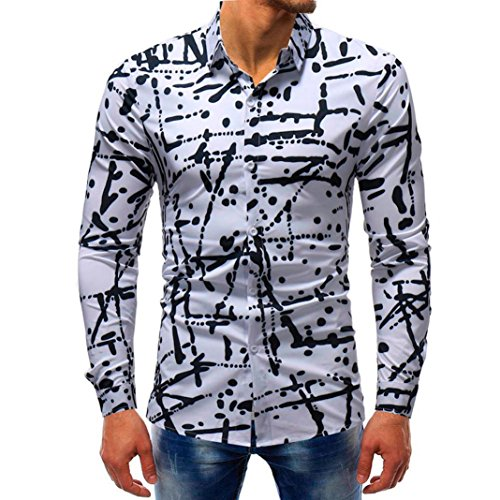 vermers Mens Button Down Shirts - Men Fashion Printed Blouse Casual Long Sleeve Slim Shirts Tops(XL, ()
