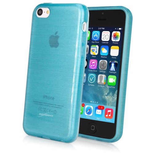 iPhone 5c Case, BoxWave® [GlassWorks Crystal Slip] Glossy, Flexible, Low Profile Case for Apple iPhone 5c - Aquamarine (Low Profile Iphone 5c Case compare prices)